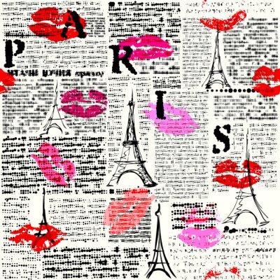 Fototapeta Bez szwu tła deseń. Imitacja gazety z halftone słowo Paryża.