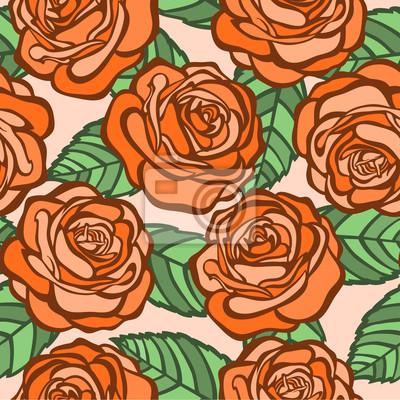 bez szwu tła. pomarańczowy róż z zielonymi liśćmi