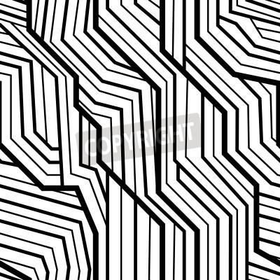 Fototapeta bez szwu wzór geometryczny wzór, art deco z splecione paski, czarne i białe
