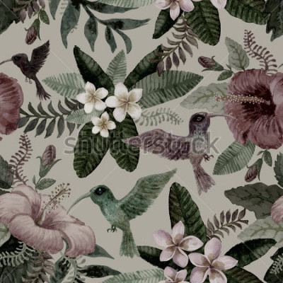 Fototapeta Bezbarwny kwiatowy wzór z ręcznie rysowane akwarela hibiskusa i kwiatów plumeria, egzotyczne małe ptaki i fantasy tropikalnych liści na szarym tle