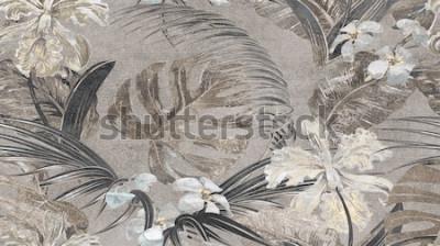Fototapeta Beżowe tropikalne liście wzór