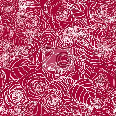 Bezproblemowa vrctor kwiatowy wzór z róż na czerwonym tle