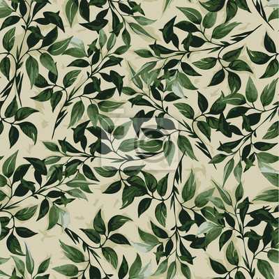 Fototapeta Bezproblemowa vrctor kwiatowy wzór z zielonych liści ficus