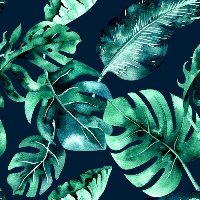 Fototapeta Bezszwowe akwarela wzór tropikalnych liści, gęsta dżungla. Ha