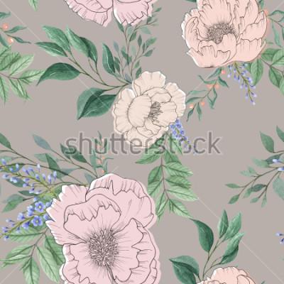 Fototapeta bezszwowe tło akwarela wymieszać kolorowy kwiat kwiatowy i liście z grafiką używaną do tekstury tła, papier pakowy, tkaniny lub tapety
