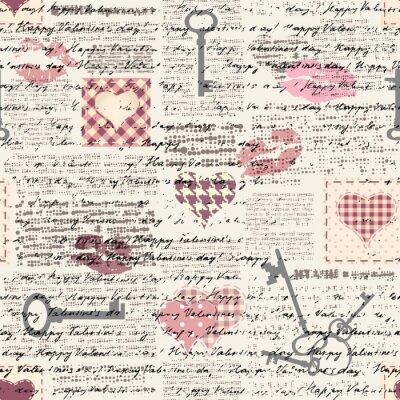 Fototapeta Bezszwowe tło wzór. Wzór serca w stylu patchworku.