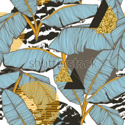 Fototapeta Bezszwowe tło z liści bananowych