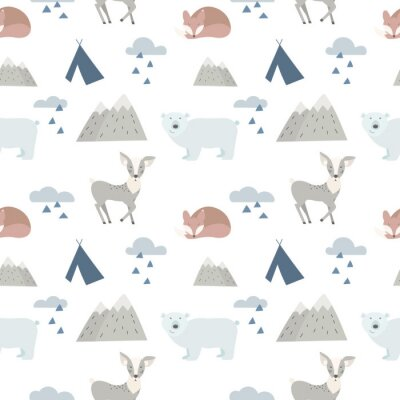 Bezszwowe tło zwierząt leśnych z cute jelenie, opatrzone i lisy. Styl kreskówki.