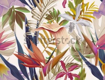 Fototapeta Bezszwowe tropikalny kwiat, roślina i liść wzór tła