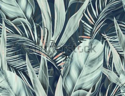 Fototapeta Bezszwowe tropikalny kwiat, roślina i liść wzór tła, retro styl botaniczny. Stylowy nadruk w kwiaty