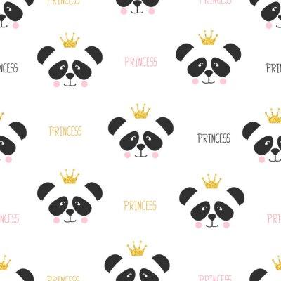 Fototapeta Bezszwowe wzór księżniczki panda. Tło dla dzieci.