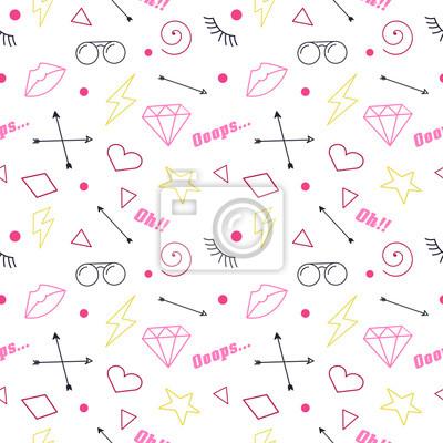 Bezszwowe wzory z doodlesami mody. Vector clip-art.