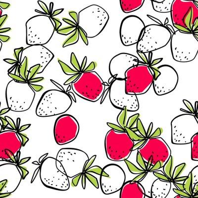 Fototapeta Bezszwowy abstrakcjonistyczny truskawkowy nowożytny wzór na bielu