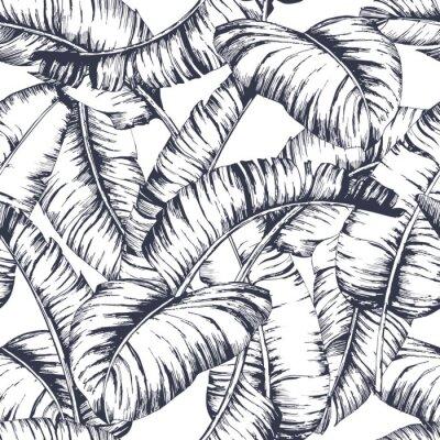 Fototapeta Bezszwowy bananowych liści wzór dla mody tkaniny, czerni linii rośliny wektoru ilustracja