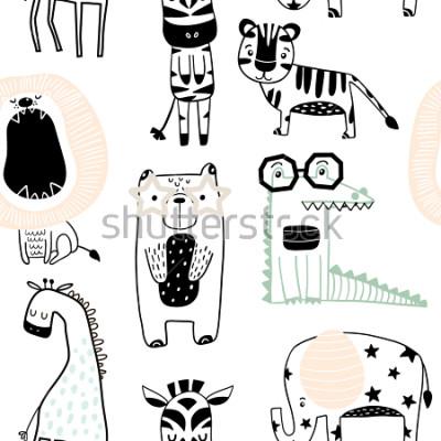 Fototapeta Bezszwowy dziecięcy wzór z ślicznymi zwierzętami w czarny i biały stylu. Kreatywnych dzieci scandinavian tekstury do tkanin, pakowania, włókienniczych, tapety, odzieży. Ilustracji wektorowych