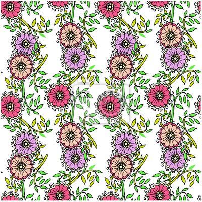 e53c7a14d6f8f1 Bezszwowy kwiecisty deseniowy fiołek, kwiat, menchia, zieleń opuszcza  czerni kontury na bielu zaopatruje