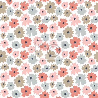 Bezszwowy kwiecisty wzór w doodle stylu z kwiatami. Nadruk w kolorze pastelowym. Tapeta wektor.