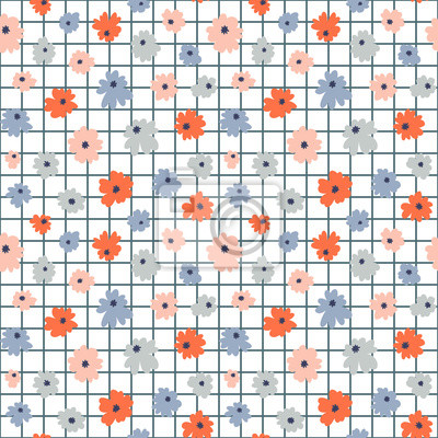 Bezszwowy kwiecisty wzór w doodle stylu z kwiatami. Nowoczesny druk. Tapeta wektor.