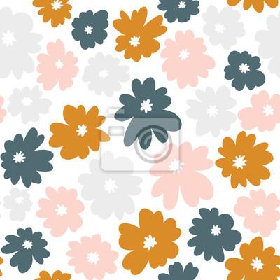 Bezszwowy kwiecisty wzór w doodle stylu z kwiatami. Tapeta wektor.