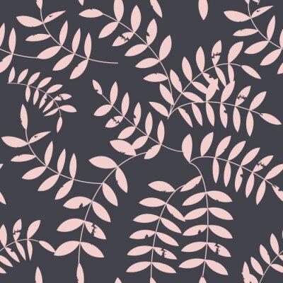 Fototapeta Bezszwowy kwiecisty wzór z stylizowanymi textured gałązkami i liśćmi w retro scandinavian stylu.