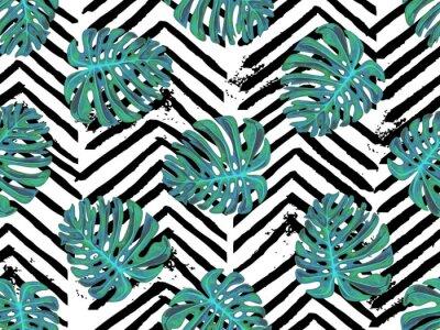 Fototapeta Bezszwowy lato tropikalny wzór z egzotyczną palmą opuszcza wektorowego tło. Idealny do tapet, wypełnień deseni, tła stron internetowych, tekstur powierzchni, tekstyliów