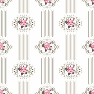 Fototapeta Bezszwowy tapeta wzór z różami na białym tle