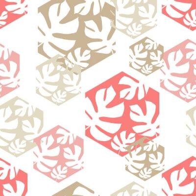 Fototapeta Bezszwowy tło z dekoracyjnymi liśćmi. Oddział Monstera pozostawia w sześciokącie. Wzór z liści palmowych. Zgodność z tekstem.