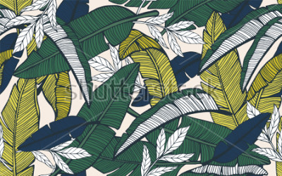 Fototapeta Bezszwowy tropikalny wzór z bananowymi liśćmi. Ręcznie rysowane ilustracji wektorowych