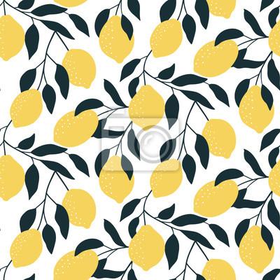 Bezszwowy wzór z cytrus owoc. Ręcznie rysowane nakładających się tło. Nowoczesna tapeta cytrynowa. Ilustracji wektorowych, dobre do drukowania.