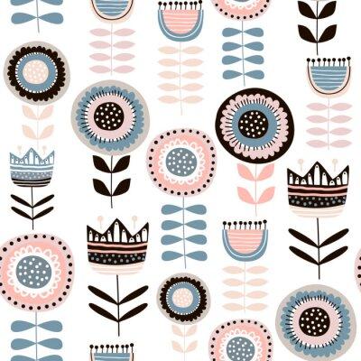 Fototapeta Bezszwowy wzór z dekoracyjnymi kwiatami w scandinavan stylu. Kreatywne tło botaniczne. Idealny do odzieży dziecięcej, tkanin, tkanin, dekoracji przedszkola, papier pakowy. Ilustracja wektorowa