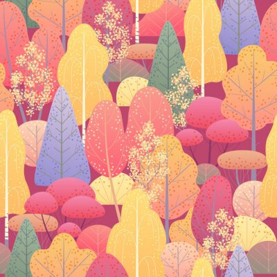 Fototapeta Bezszwowy wzór z jesień lasem