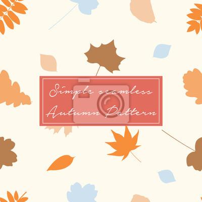 Bezszwowy wzór z jesień liśćmi w pomarańcze, beżu, brązie i błękicie ,. Idealny do tapet, papieru prezentowego, wypełnień deseniem, tła strony internetowej, jesiennych kartek okolicznościowych.
