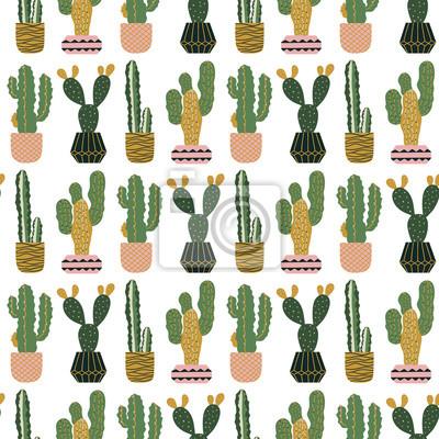 Bezszwowy wzór z kaktusami w garnkach. Skandynawski styl. Druk wektorowy. Projektowanie tkanin.