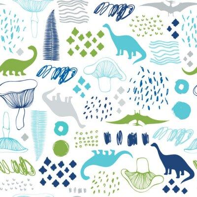 Fototapeta Bezszwowy wzór z kreskówka dinosaurami. Do kart, imprez, banerów i dekoracji pokoju dziecięcego.