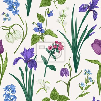 Bezszwowy wzór z kwiatami i ziele.