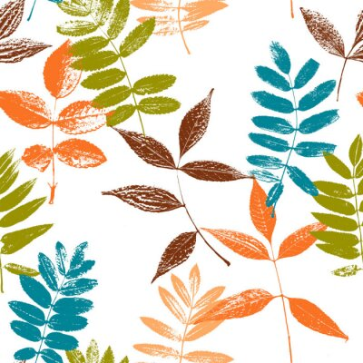 Fototapeta Bezszwowy wzór z liść sylwetkami