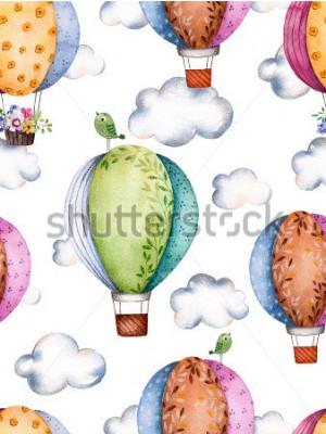 Fototapeta Bezszwowy wzór z lotniczymi balonami i chmurami w pastelowych colours.Watercolor lotniczy ballons pięknie dekorujący na białym tle z pastelową chmurą i małym ptakiem Doskonały dla tapety, dzieci tekst