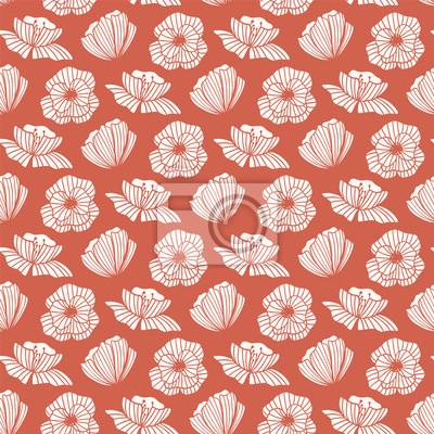 Bezszwowy wzór z Makowym kwiatem. Kwiatowy tło. Tapeta wektor. Dobry do tkanin, tekstyliów, papieru do pakowania, projektowania opakowań.