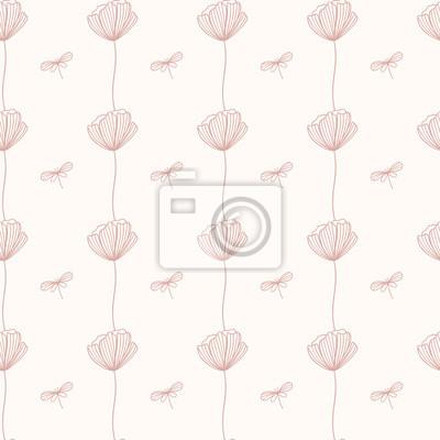 Bezszwowy wzór z Makowym kwiatem. Powtarzający się kwiatowy tło. Tapeta wektor. Dobry do tkanin, tekstyliów, papieru do pakowania, projektowania opakowań.