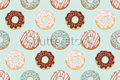 Fototapeta Bezszwowy wzór z oszklonymi donuts. Kolory niebieski i czekoladowy. Girly. Do drukowania i internetu.
