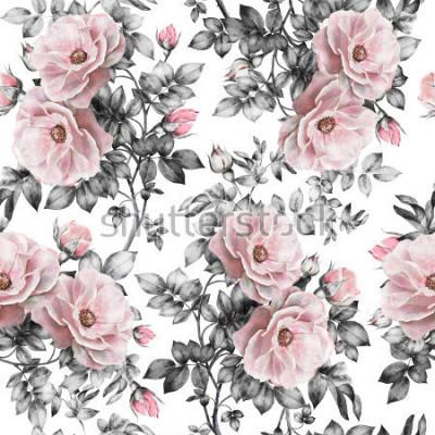 Fototapeta Bezszwowy wzór z różowymi kwiatami i liśćmi na białym tle, akwarela kwiecistym wzorze, kwiat wzrastał w pastelowym kolorze, bezszwowy kwiatu wzór dla tapety, karty lub tkaniny