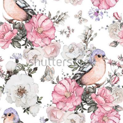 Fototapeta Bezszwowy wzór z różowymi kwiatami, ptakiem - finch i liśćmi na białym tle, akwarela kwiecistym wzorem, kwiatem wzrastał w pastelowym kolorze, płytką dla tapety, rocznik kartą lub tkaniną
