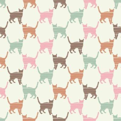 Fototapeta Bezszwowy wzór z Ślicznymi kotami. Wzór pikseli koty. Śmieszne piękne koty. Zgodność z tekstem.