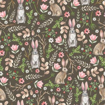 Fototapeta Bezszwowy wzór z ślicznymi królikami. Ręcznie rysowane akwarela