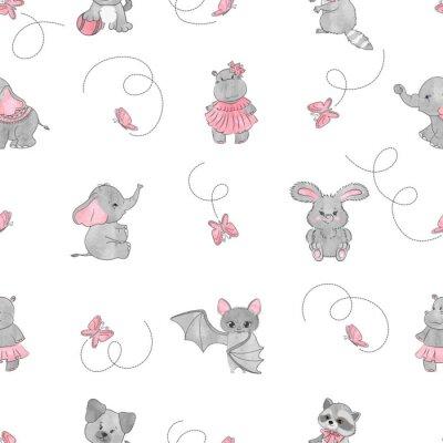 Fototapeta Bezszwowy wzór z ślicznymi małymi zwierzętami. Tło dla dzieci.