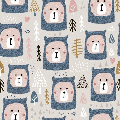 Fototapeta Bezszwowy wzór z ślicznymi niedźwiadkowymi twarzami w trykotowych kapeluszu i lasu elementach Doskonały dla świątecznej zimy tkaniny, tkanina. Wektorowy tło