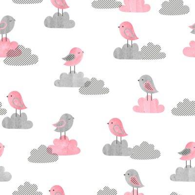 Fototapeta Bezszwowy wzór z ślicznymi ptakami i chmurami. Druk dziecka. Ilustracji wektorowych