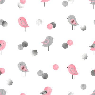 Fototapeta Bezszwowy wzór z ślicznymi ptakami i okręgami. Projekt nadruku dla dzieci.