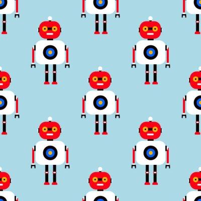 Fototapeta Bezszwowy wzór z ślicznymi robotami. Bezszwowe tło wektor