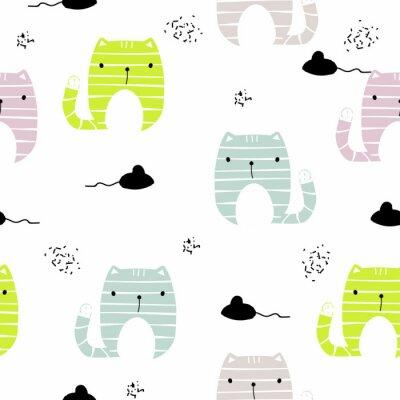 Fototapeta Bezszwowy wzór z śmiesznym kotem i czarną myszą. Wektorowa ręka rysująca ilustracja.